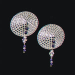 Bijoux de Nip Round Silver Crystal Pasties w- Purple Beads