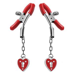 Heart Padlock Nipple Clamps – Red