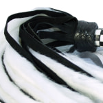 Suede and Fluff MINI Flogger – 18 – White-Black