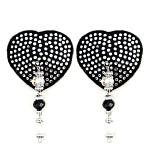 Bijoux de Nip Heart Black Crystal Pasties w- Beads