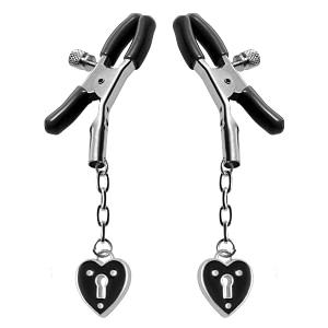 Heart Padlock Nipple Clamps – Black