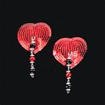 Bijoux de Nip Heart Red Sequin Pasties w- Facet Beads