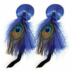 Bijoux de Nip Round Blue Sequin Pasties w- Feathers