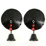 Bijoux de Nip Round Black Sequin Pasties w- Bells